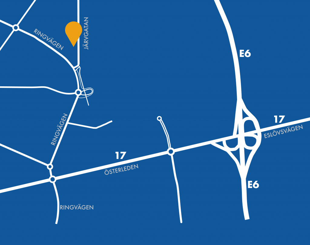 Karta till Van der Graafs kontor i Landskrona