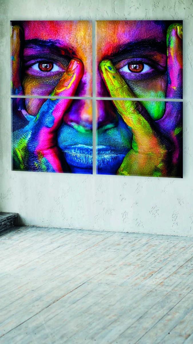 Akustikbillede multifarver ansigt i fire dele