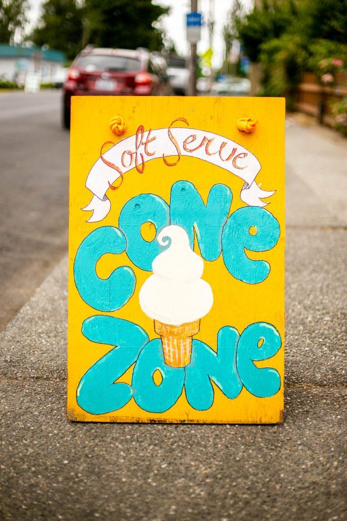 Cone Zone sign
