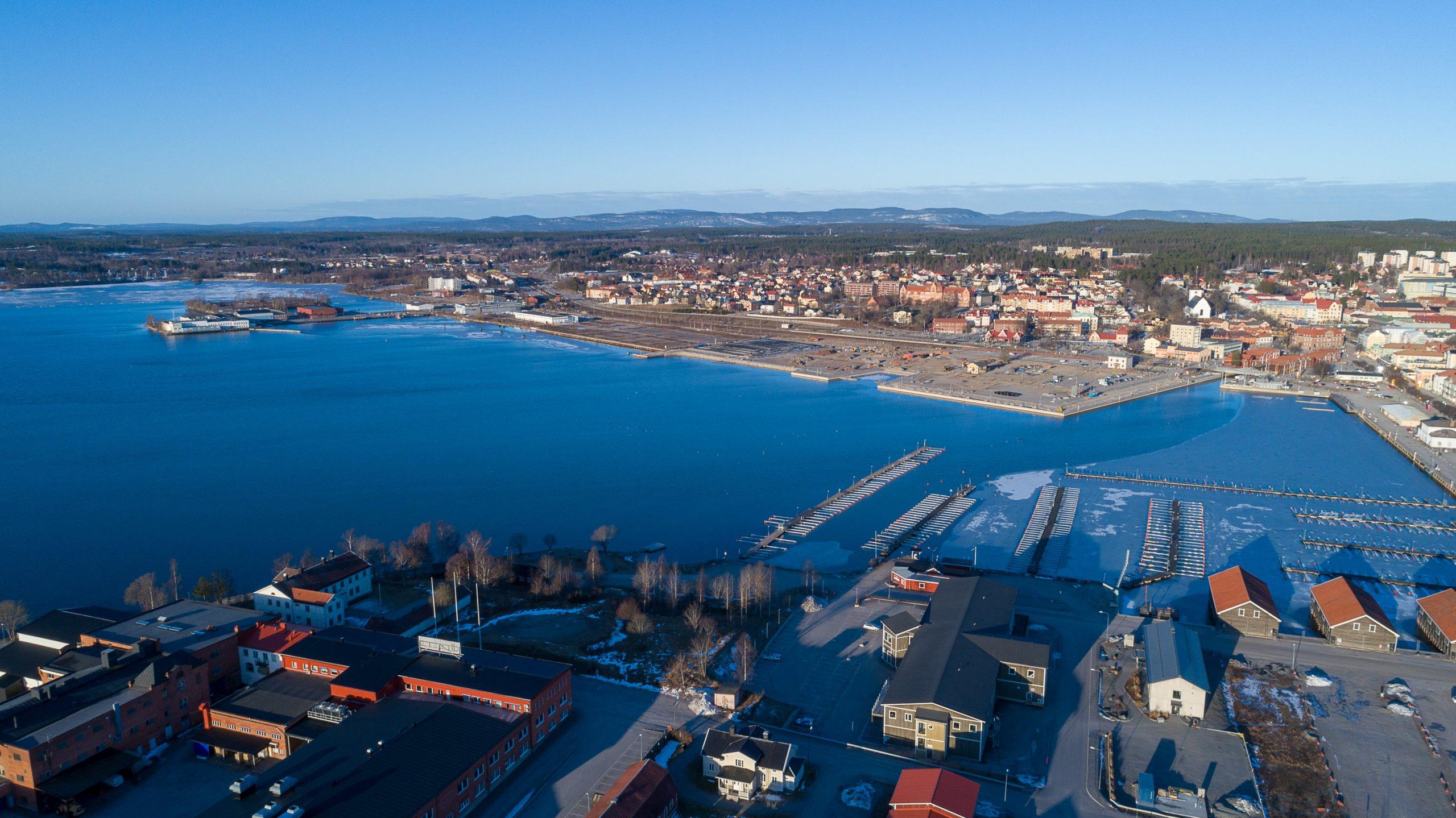 Västra Hamnen Hudiksvall flygbild