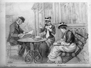 Handarbetande sällskap sitter vid trädgårdsbord, Montebello, 1880. Nordiska Museet