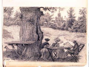 Två kvinnor och en man läser under en ek, Montebello, 1894. Nordiska Museet