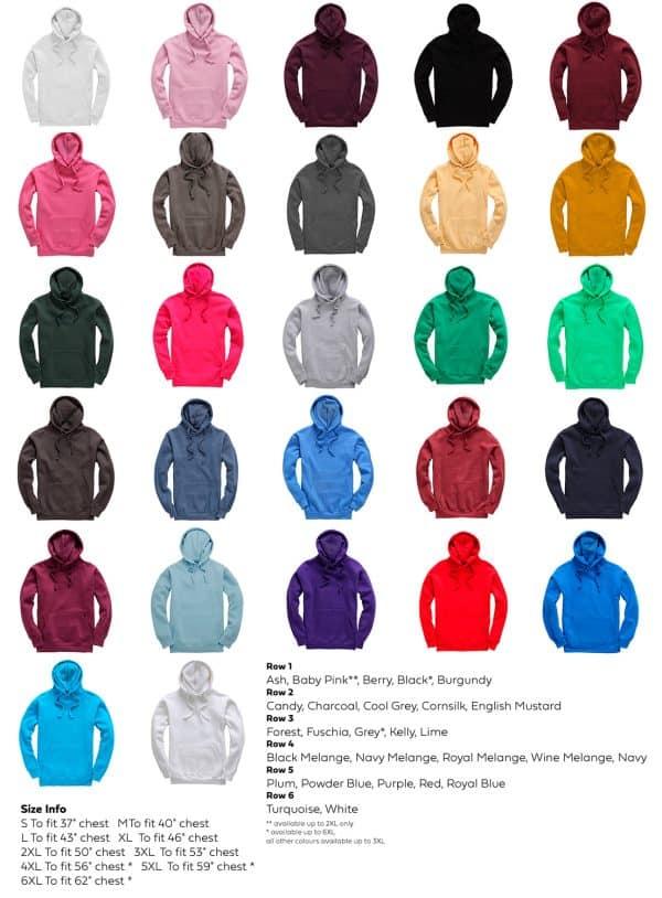 Vee Dub Family Premium Hoodie Colour & Size Chart