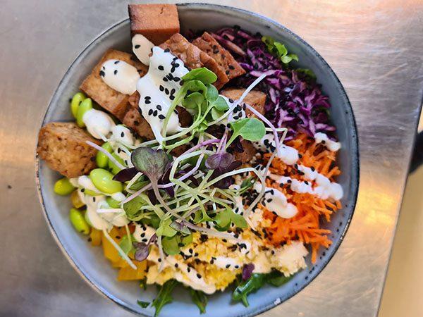 vegan poke bowl met gemarineerde tofu en tempeh met edame boontjes en ananas