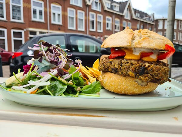 veganistische hamburger, vegan burger, homemade burger, zoete aardappel, bataat en salade