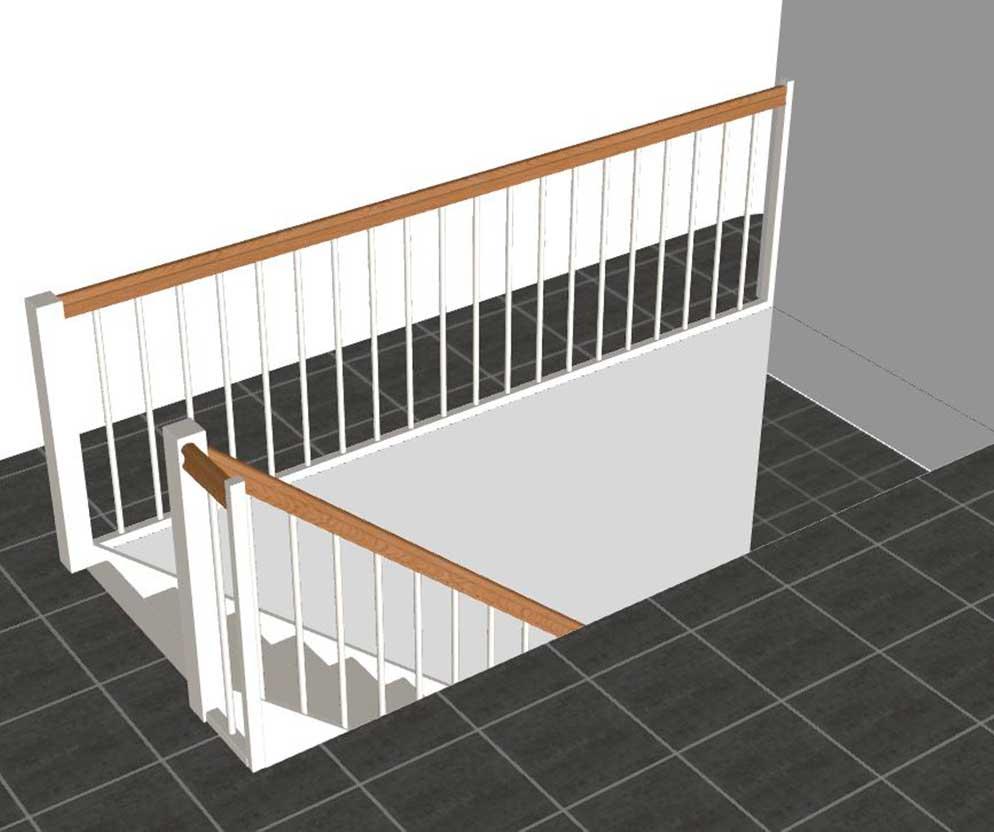 Returgelænder modsat trappegelænder