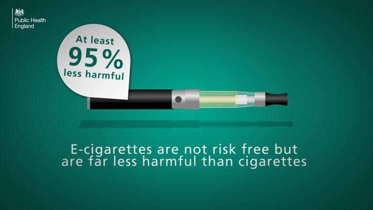 E-cigaretter är 95 procent säkrare än vanliga cigaretter, menar Public Health England, brittiska hälsomyndigheten