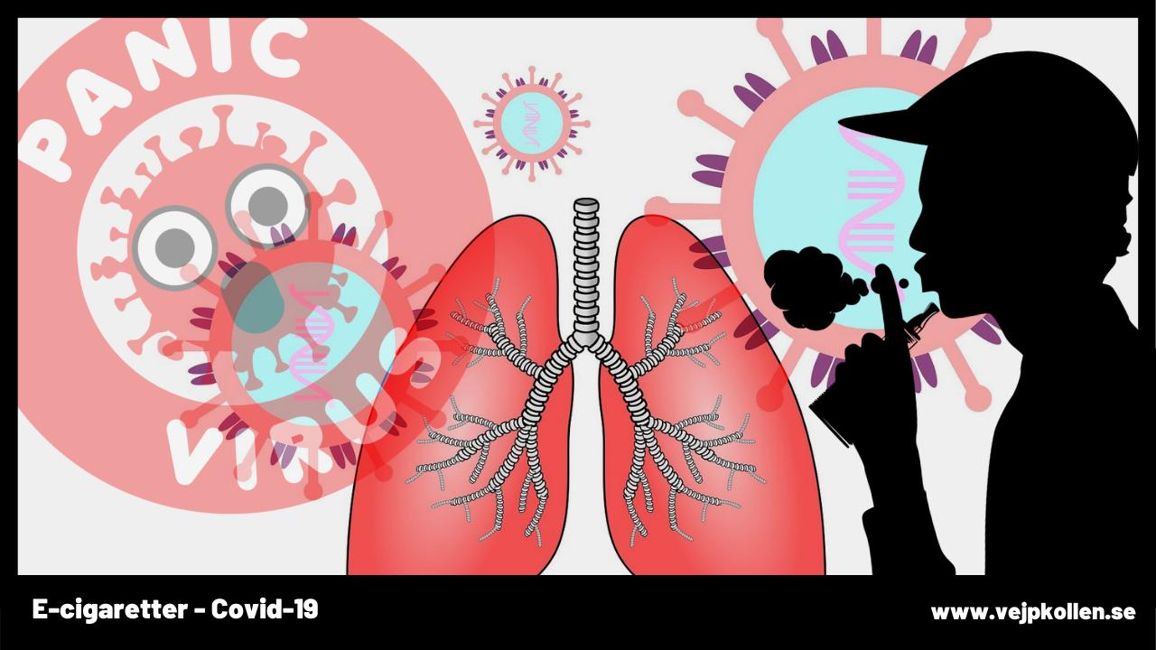 Illsutration av e-cigg, lungor och covid-19