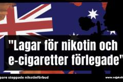 Nikotin kan forfarande importeras till e-cigg i Australien.