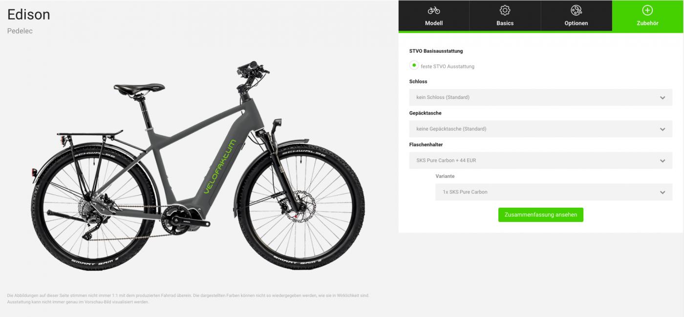Screenshot des Fahrradkonfigurators