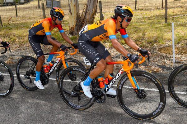 Team Bahrain McLaren riding in Le Col cycling kits