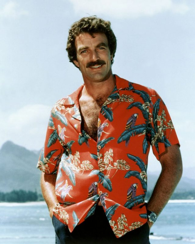 Tom Selleck wearing a typical Aloha shirt