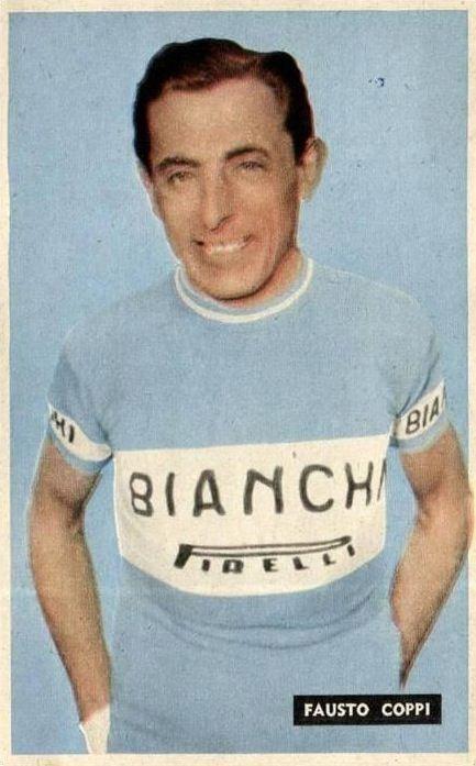 Fausto Coppi wearing the Bianchi Pirelli jersey