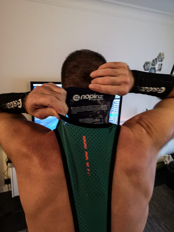 Replacing the Nopinz cooling gel packs is a piece of cake during your indoor cycling session.