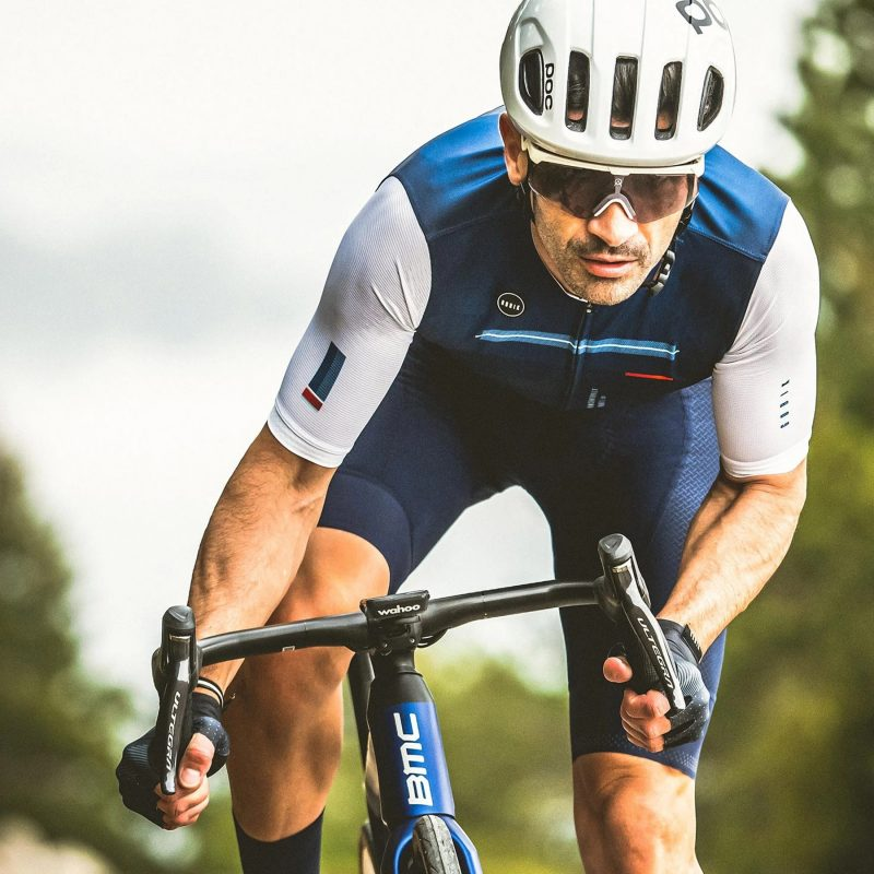 gobik stark blue sun protection cycling jersey