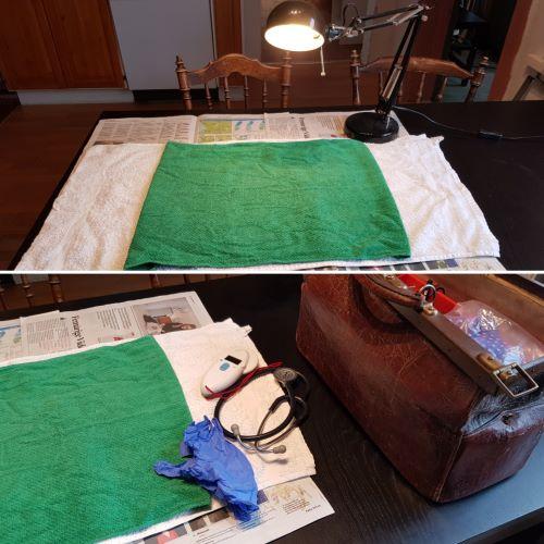 Så här kan du enkelt förbereda ett undersökningsbord med några tidningar och handdukar, samt bra belysning. Ha gärna ett eluttag nära också.