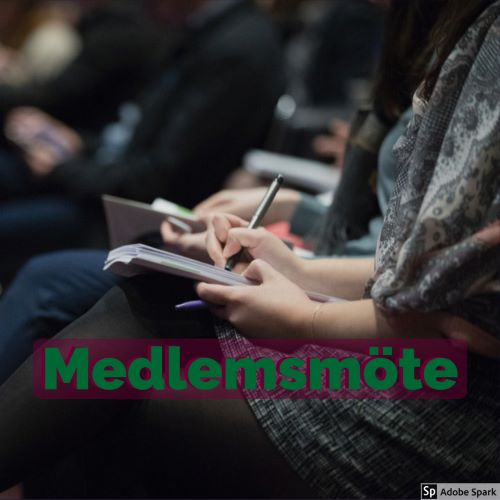 Medlemmar i en förening sitter på rad med anteckningsblock och pennor. Ta kontakt med Vetmobilen för att boka ett spännande föredrag. Texten Medlemsmöte ligger i förgrunden.