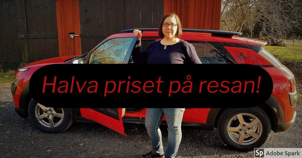Vetmobilen som är röd och svart står i bakgrunden med Agneta Andersson framför. I förgrunden står det Halva priset på resan. Det är Septemberkampanj.
