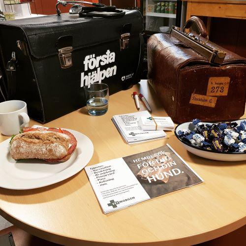 Vetmobilens praktikväskor både den moderna och äldre doktorsväskan, uppställda inför ett tisdagscafé med tema hund på Café Linnea i Häradsbäck.