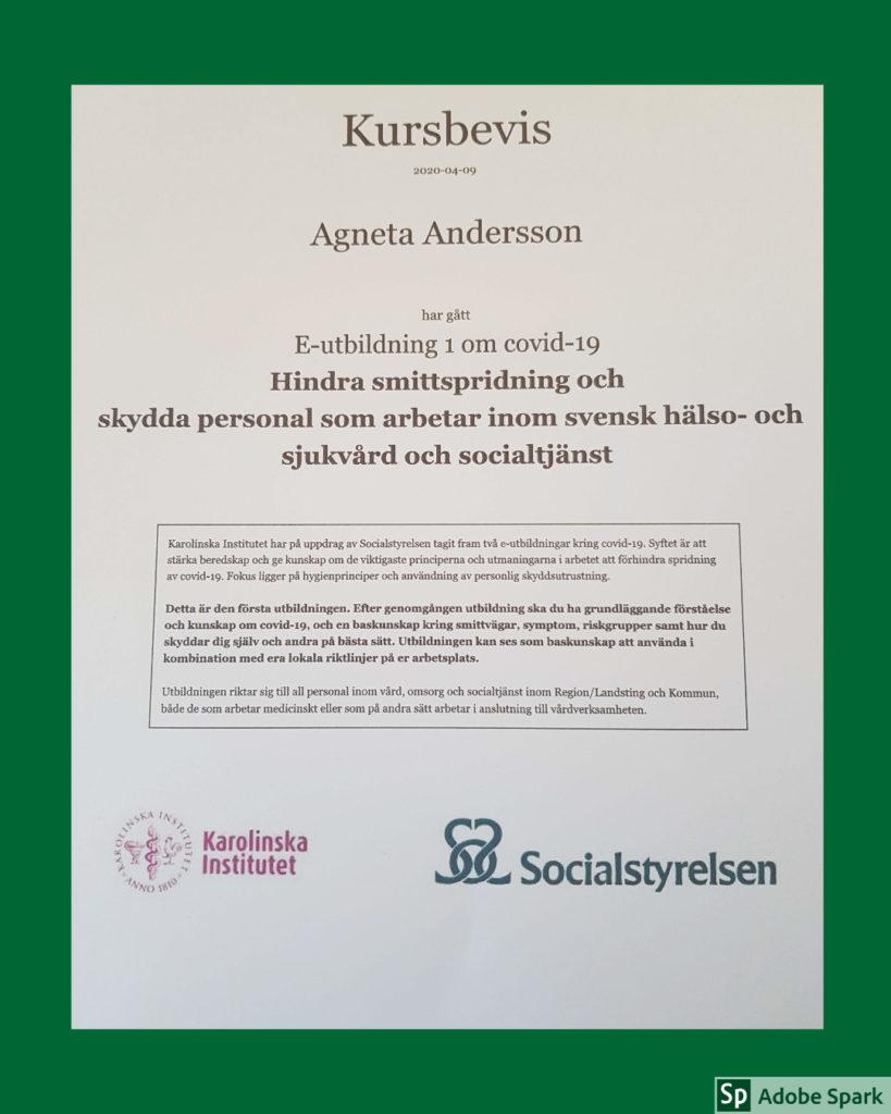 Kursbevis för att Agneta Andersson har gått en E-utbildning om Covid-19. Utbildningen var en bra repetition om vårdhygien.