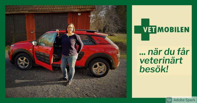 Bild på Vetmobilen och veterinär Agneta, redo för framkörning till hembesök. Texten Vetmobilen, när du får veterinärt besök! står till höger.