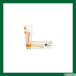 Vit tub med orange text Activon manukahonung 25 g. Sårsalva till hund och katt hos Vetbutiken.