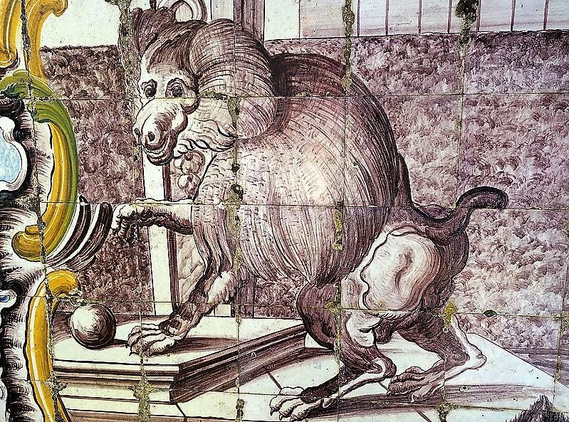 Mono realizado en azulejos
