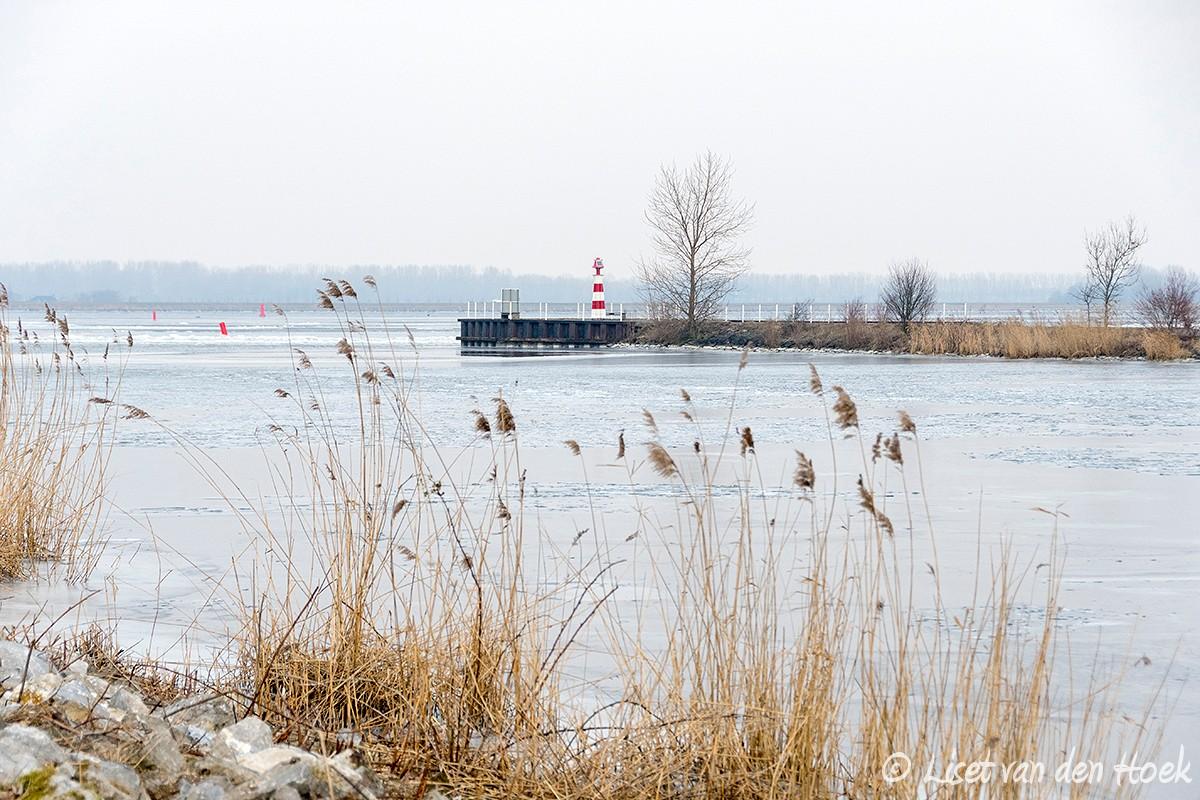 Winter bij de haven van Huizen
