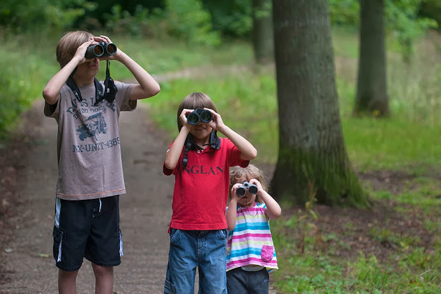 Encouraging Wildlife Interest in Children - My kids enjoying a walk in the woods (2012)