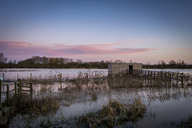 Pink skies over Farm Hide at the Floodplain Forest Nature Reserve