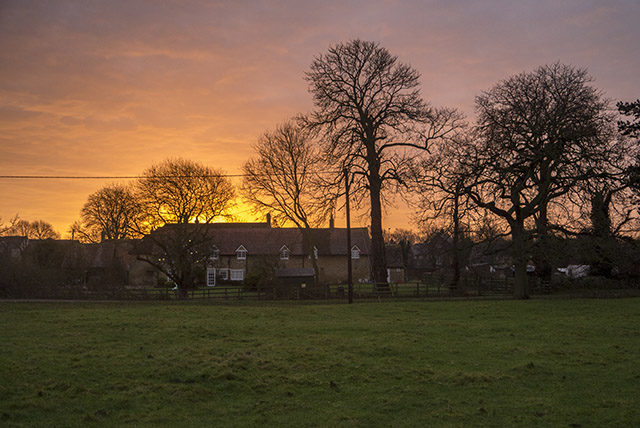 Sunrise over Old Wolverton cottages