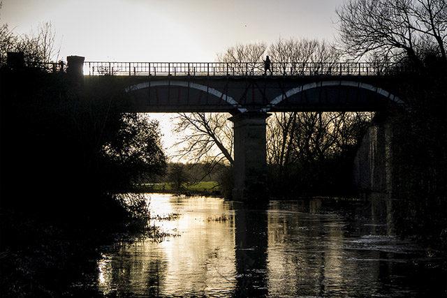 The Iron Trunk Aqueduct, beautifully back lit.