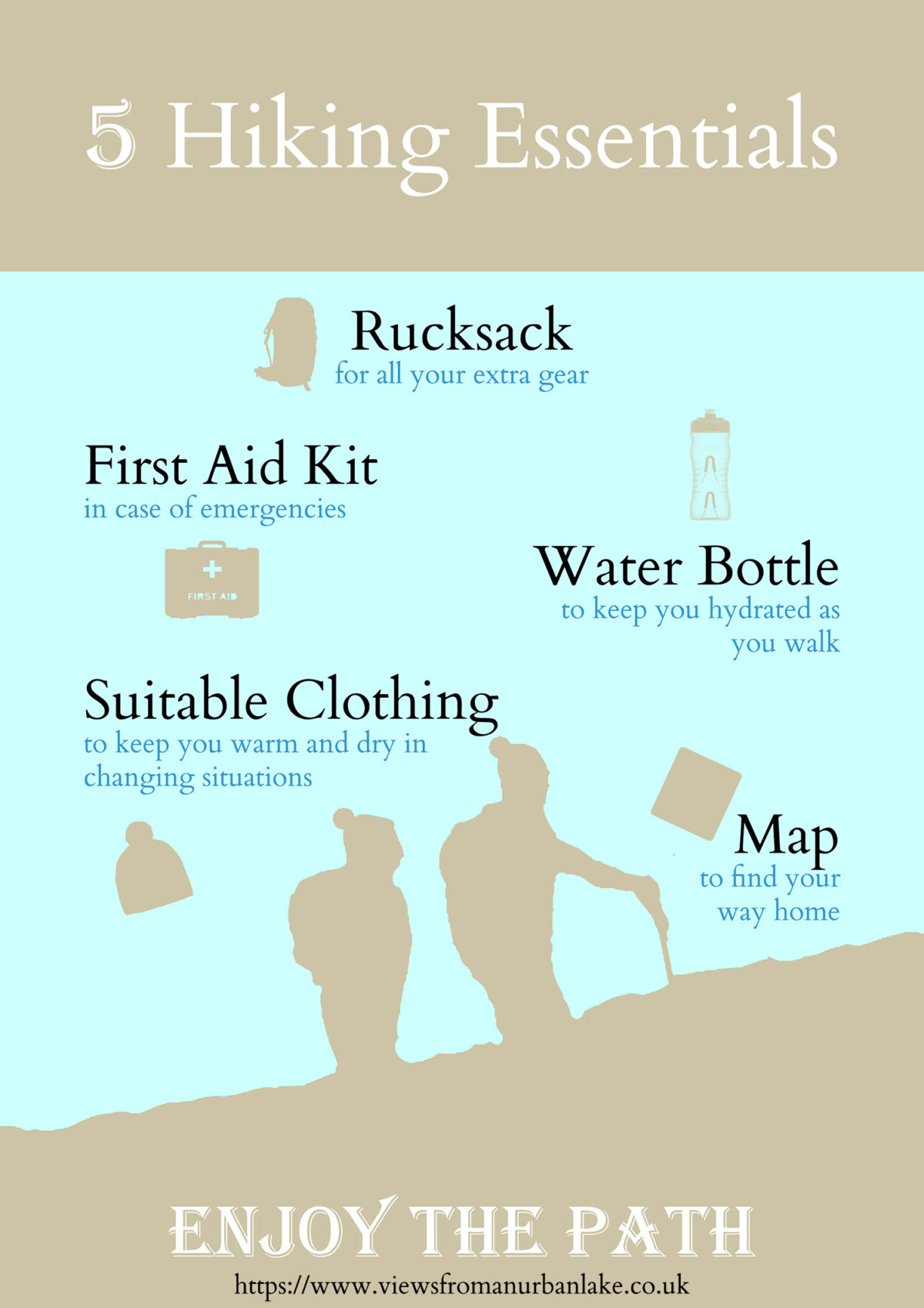 5 Hiking Essentials infographic - Our guide to the 5 essential items we always take hiking with us.