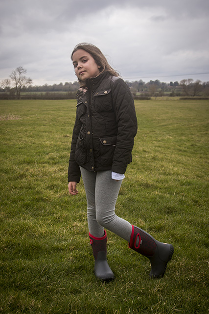 Bubs posing in her Durham Crackle (red) boots)