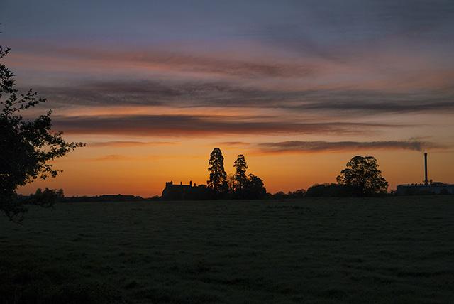 Sunrise over Manor Farm in Old Wolverton, Milton Keynes