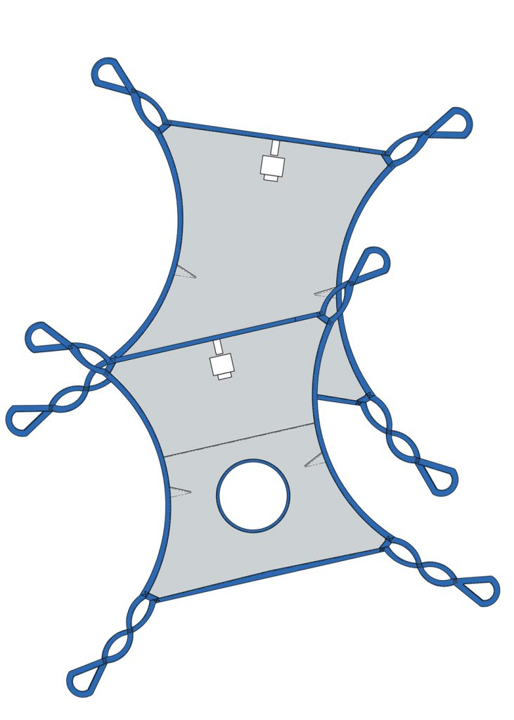 A standard hammock sling designed with split legs and shaped body