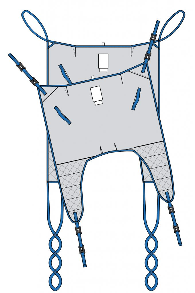 A standard Universal sling designed with split legs and shaped body