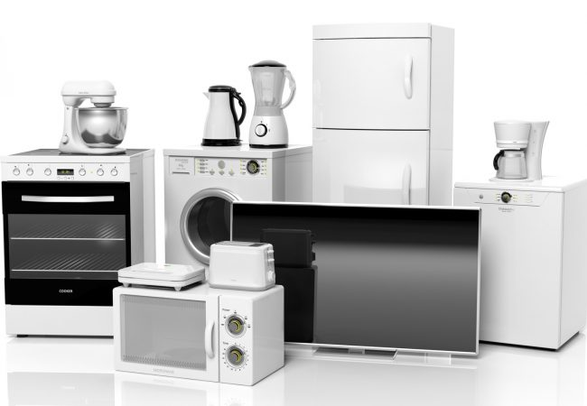 Group of home appliances isolated on white background