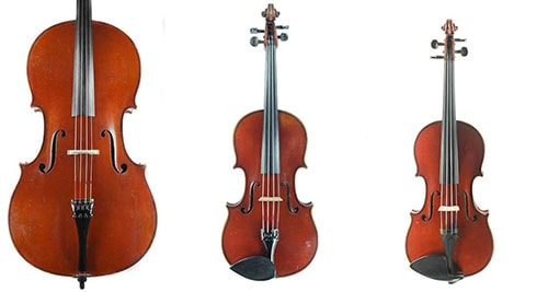Gand & Bernadel viola, violin, and cello