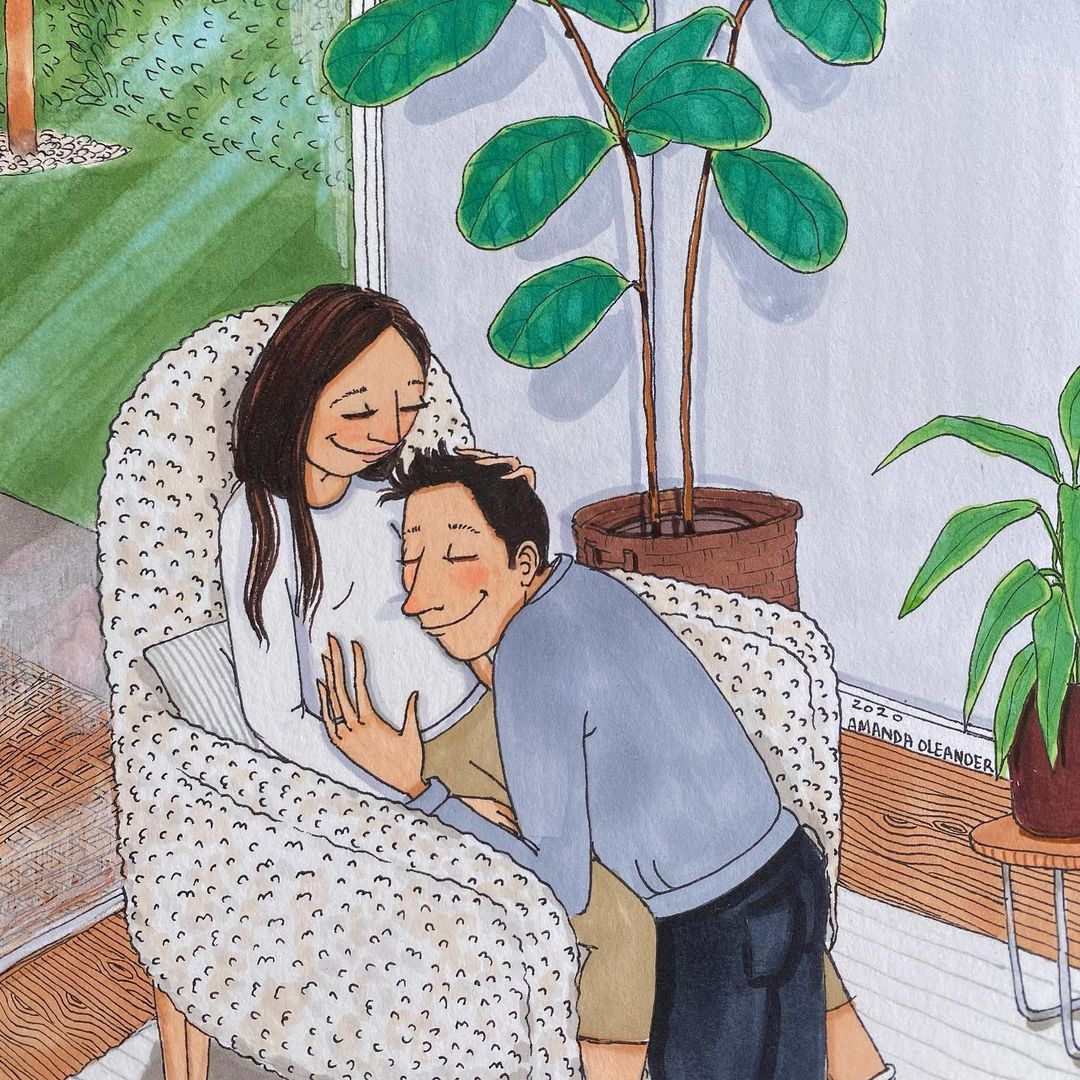artwork of a pregnant woman with his man listening to her womb