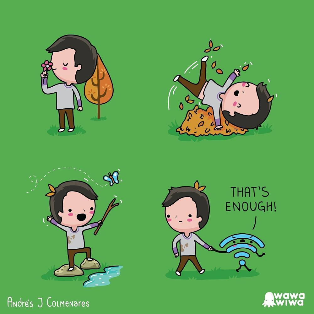 a comic about a Wi-Fi fetching a boy playing outside