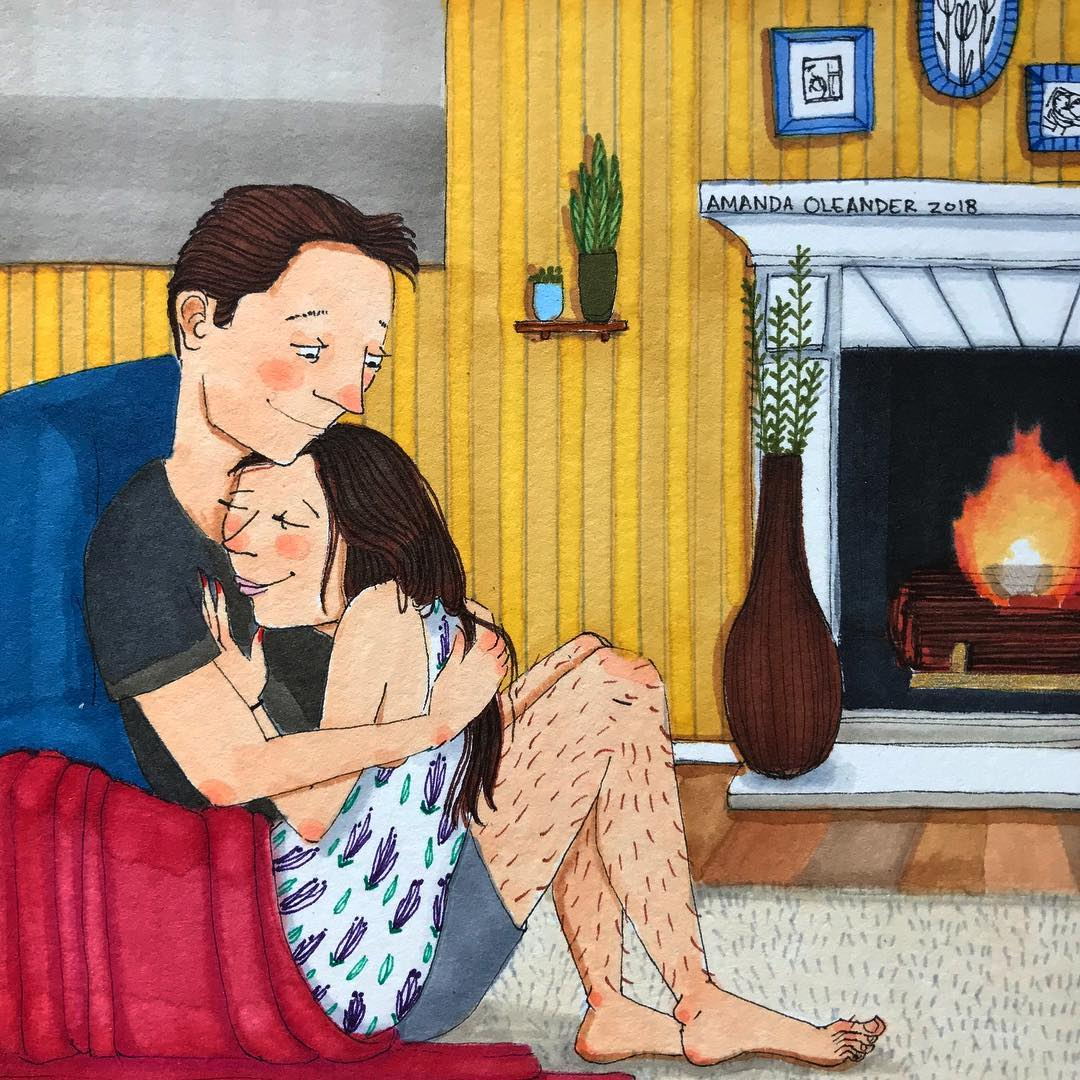 artwork of a man and woman hugging near a fireplace