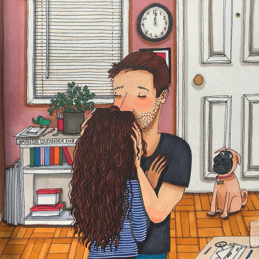 artwork of a man smelling a woman's hair