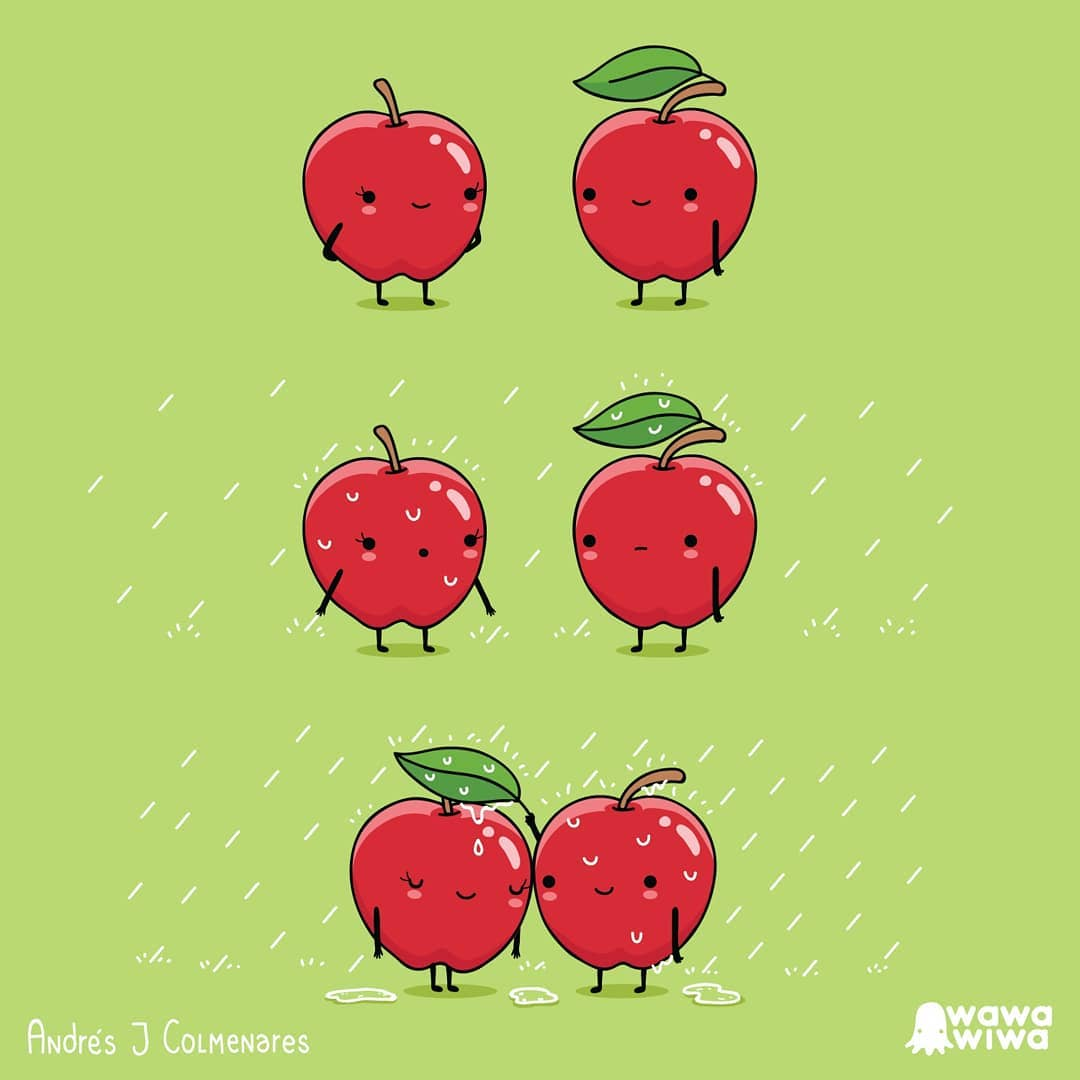 comic about apples being caught in the rain