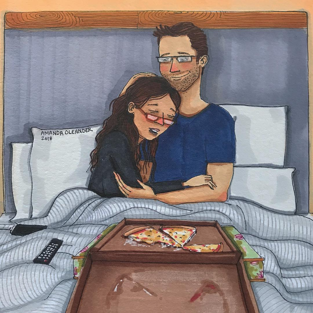 artwork of a couple eating pizza together