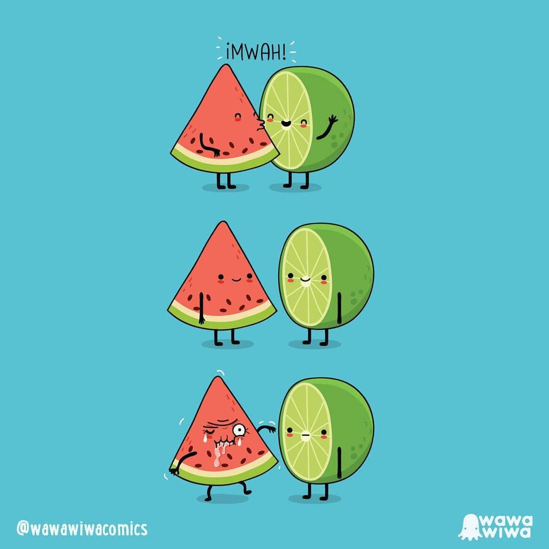 comic about melon and lemon kissing