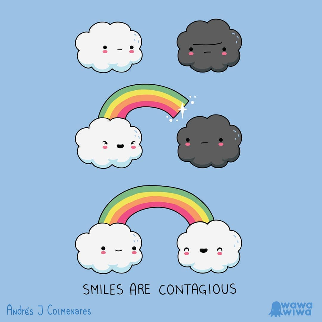 comic of clouds smiling