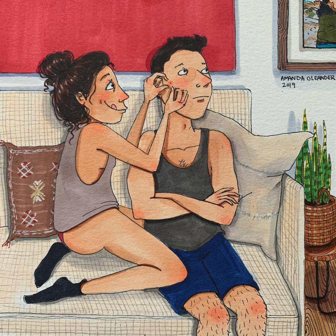 woman pricking her man's blackheads