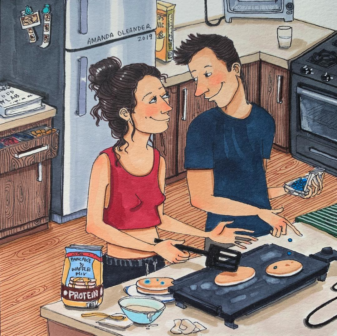 artwork of a couple cooking together