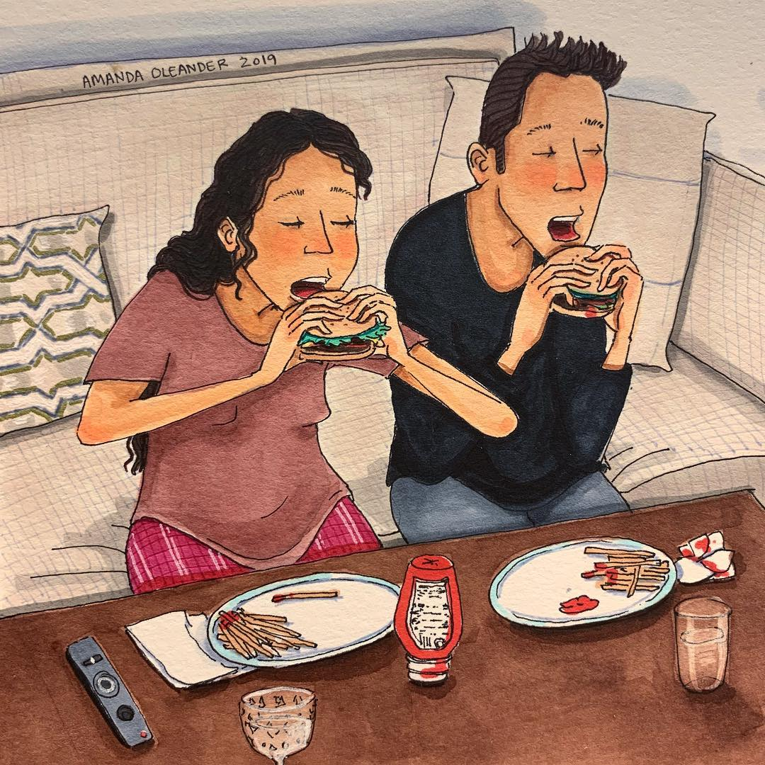 artwork of a couple eating burger and fries